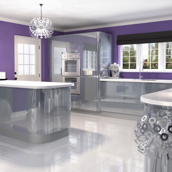 High Gloss Silver Handle Less Kitchen