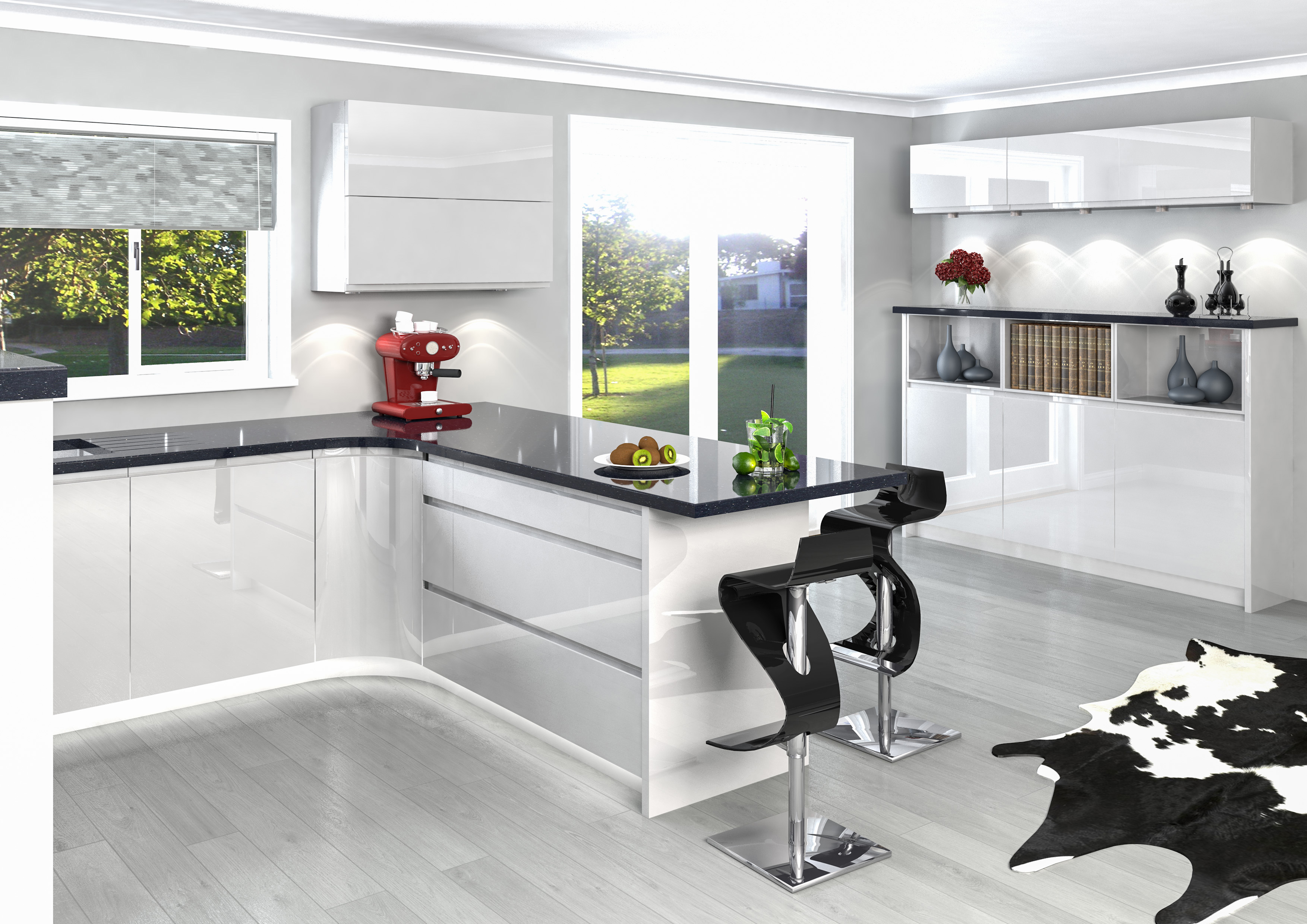 High Gloss White Jazzi Handle Less Door Kitchen Mill